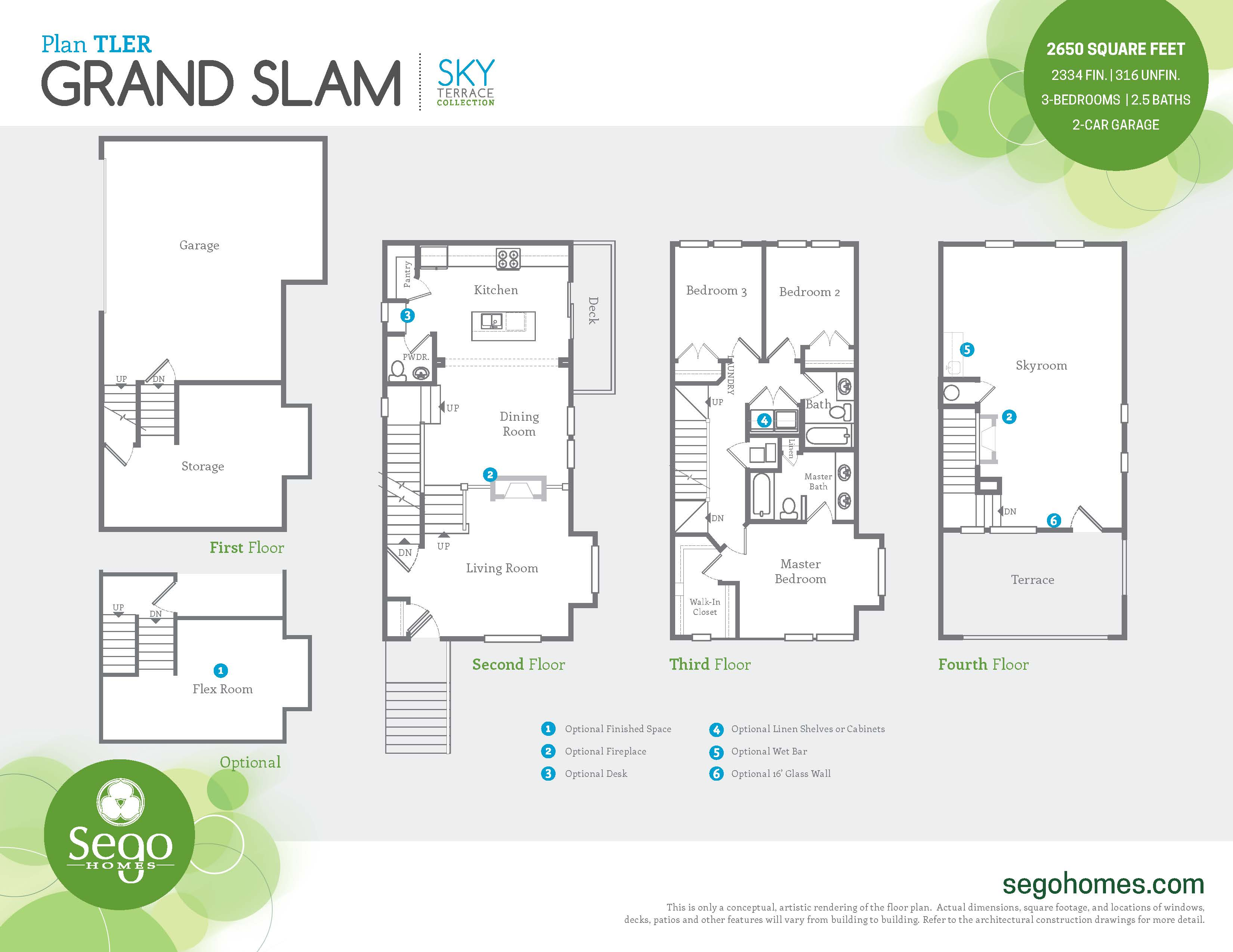 Floorplan handout of the Grand Slam with Roof Deck End