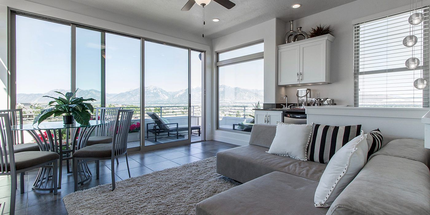 Living room of Daybreak model home with view
