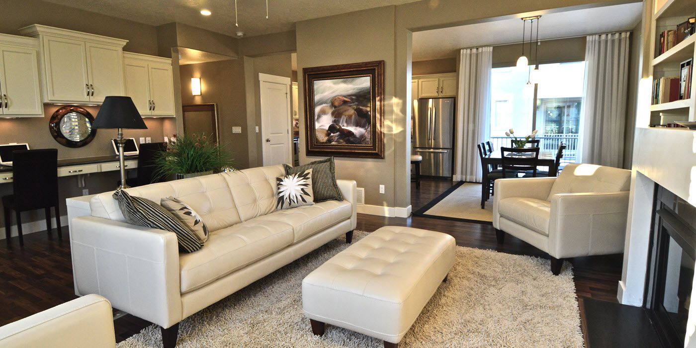 Furnished Living room of Daybreak model home