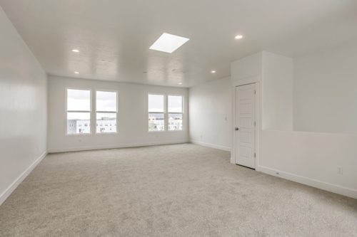 Sky Room with sky light and large windows and white walls and light carpet