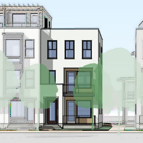 Rendered front elevation of Cabo floorplan with balconies and large windows
