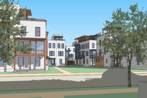 Rendered elevations of the Urban Townhomes at Daybreak